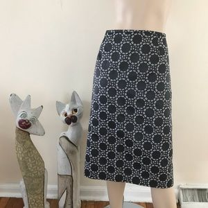 Dresses & Skirts - Charcoal Gray White Circle Brocade Pencil Skirt 18